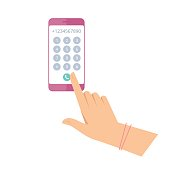 Woman is dialing number on the phone. Flat vector illustration.