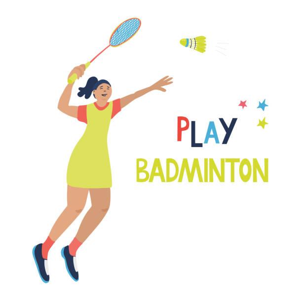 woman is playing badminton. - badminton smash stock illustrations
