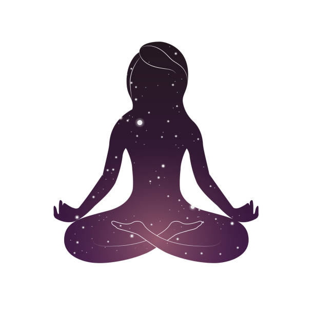 Woman is sitting in lotus posture vector art illustration