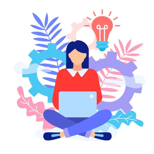 ilustrações de stock, clip art, desenhos animados e ícones de a woman is sitting on the floor and typing on laptop. - writing ideas