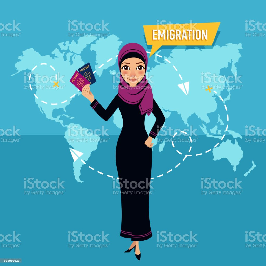 Woman is standing and holding passports and speaking about emigration. vector art illustration
