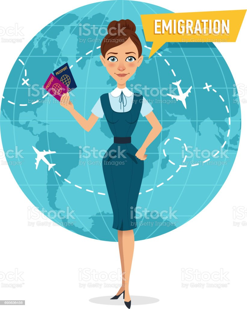 Woman is standing and holding passports. Woman speaking about emigration. vector art illustration