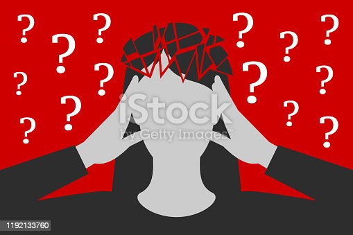 Black-and-white woman is clasping her head with hands, suffering from unbearable headache caused by many questions asked or unresolved, head is broken down to fragments, over depressive red background