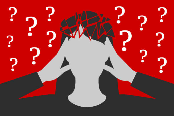 Woman is suffering from headache caused by unresolved questions Black-and-white woman is clasping her head with hands, suffering from unbearable headache caused by many questions asked or unresolved, head is broken down to fragments, over depressive red background tired woman stock illustrations
