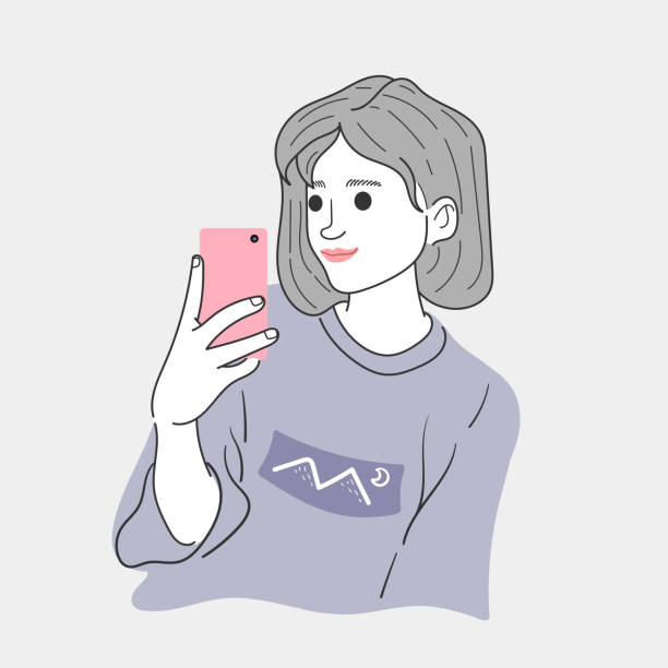Woman is taking a selfie to dress up in her vacation.Doodle art concept,illustration painting vector art illustration