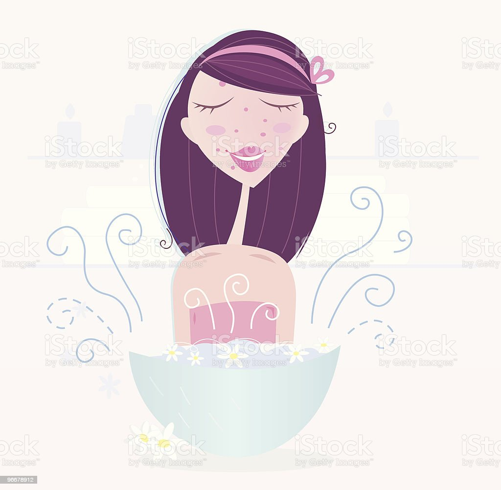 Woman is taking camomile skin care royalty-free stock vector art