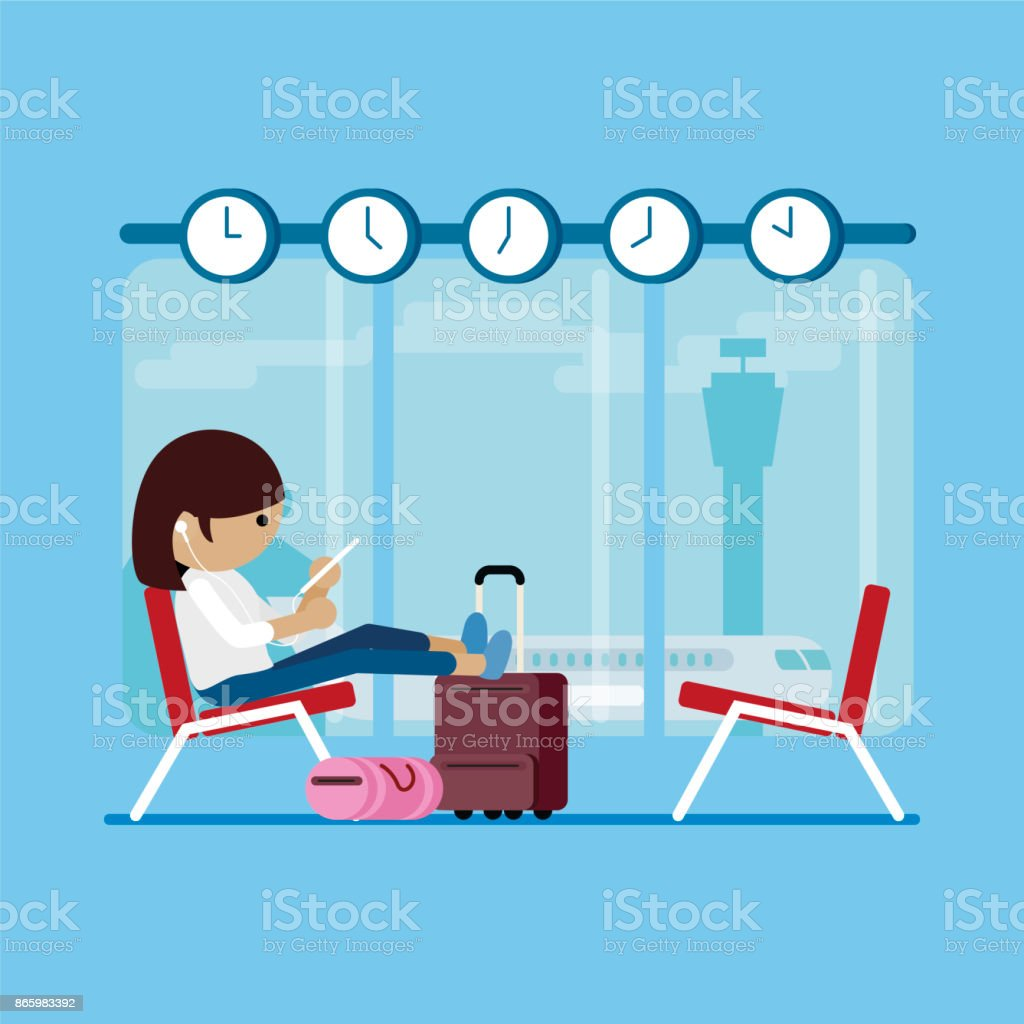 woman is waiting in airport vector art illustration