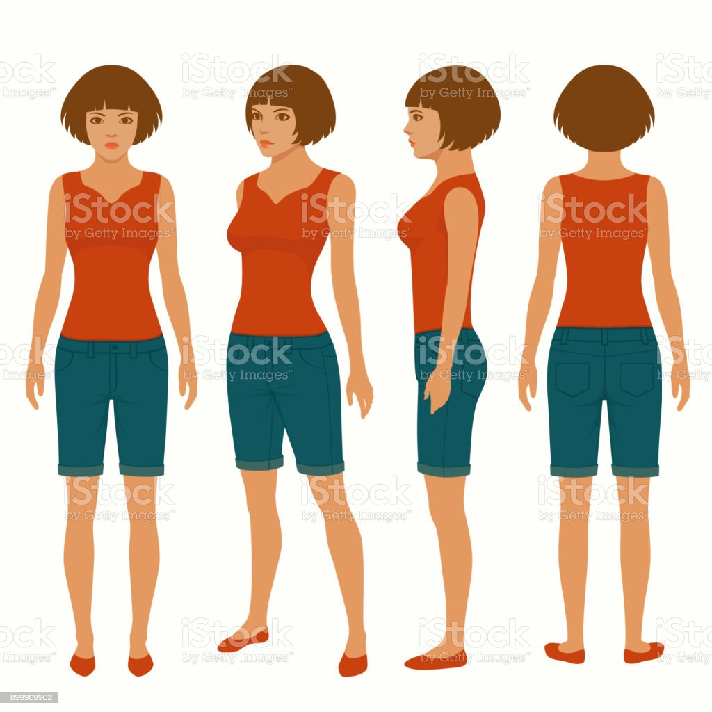 Woman Isolated Front Back And Side View Stock Vector Art More