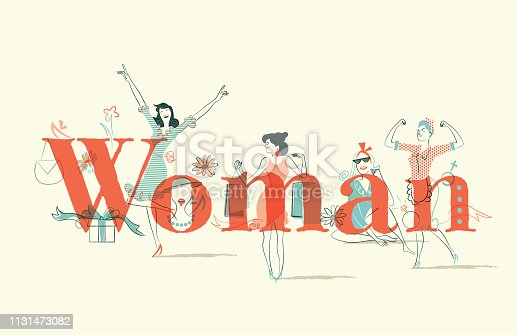this image represents the femininity, for this international day of women, in a naive comic style