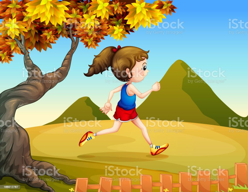 Woman jogging at the hills royalty-free stock vector art