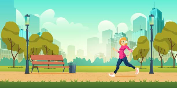 illustrazioni stock, clip art, cartoni animati e icone di tendenza di woman jogging in city park cartoon vector - city walking background