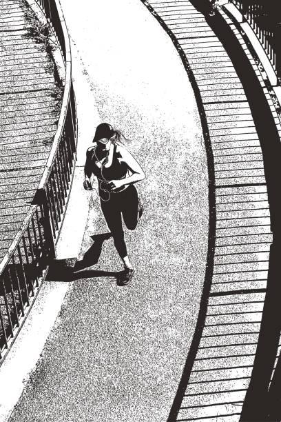 frau, joggen auf fußweg in minneapolis, minnesota. - freilauf stock-grafiken, -clipart, -cartoons und -symbole
