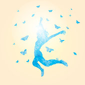 A vector illustration of a woman jumping with butterflies surrounding her. Drawn with a watercolor paint effect.