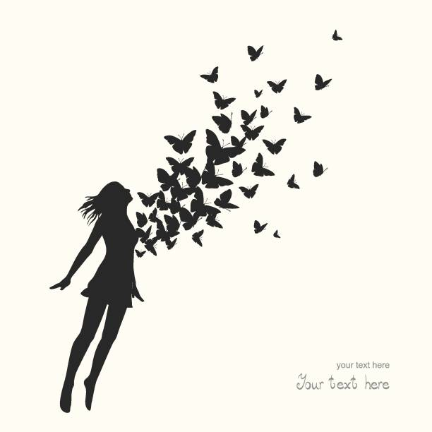 Woman jumping with swarm of butterflies Woman jumping with swarm of butterflies swarm of insects stock illustrations