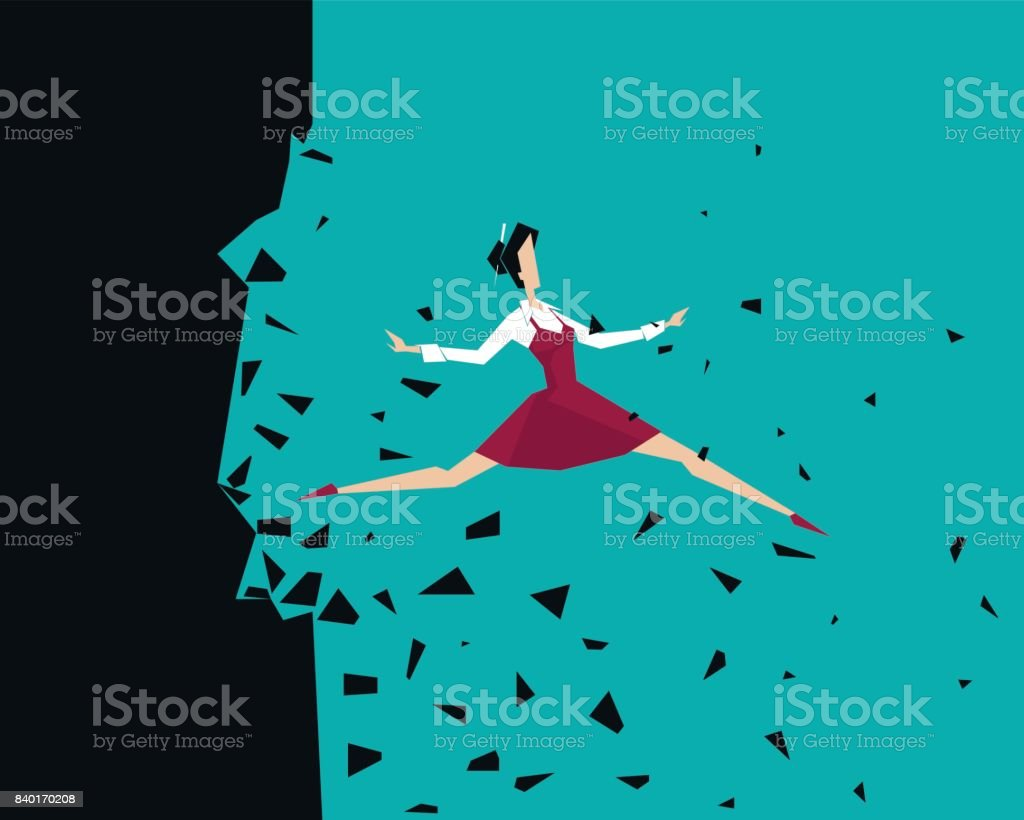 Woman jumps beyond her own limits: Breaking Wall vector art illustration