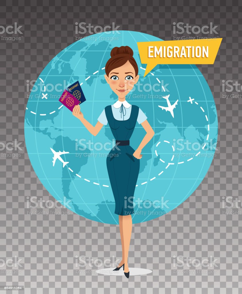 Woman keeps passports and speaks about emigration. vector art illustration