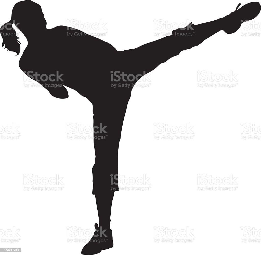 Woman Kickboxer Silhouette - Royalty-free Clipart vectorkunst
