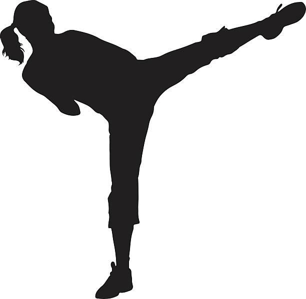 stockillustraties, clipart, cartoons en iconen met woman kickboxer silhouette - kickboksen