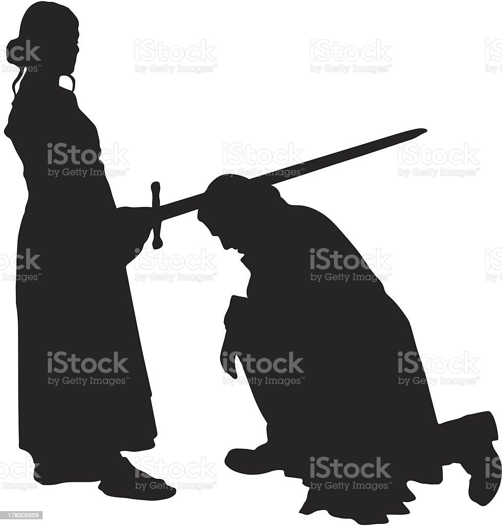 Woman knighting a man silhouette