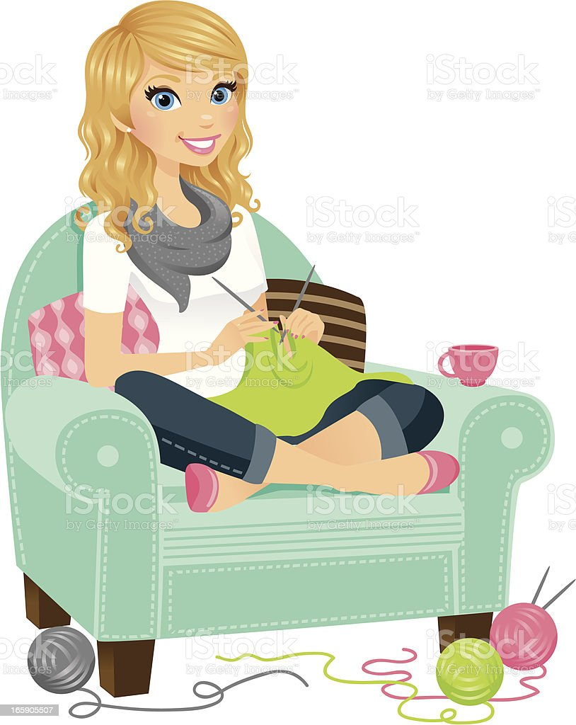 Knitting Cartoon Images : Woman knitting stock vector art more images of adult