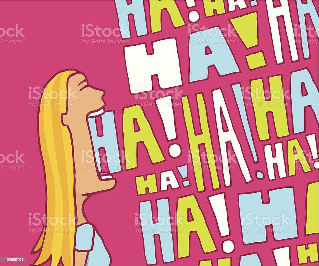 Woman laughing out loud vector art illustration