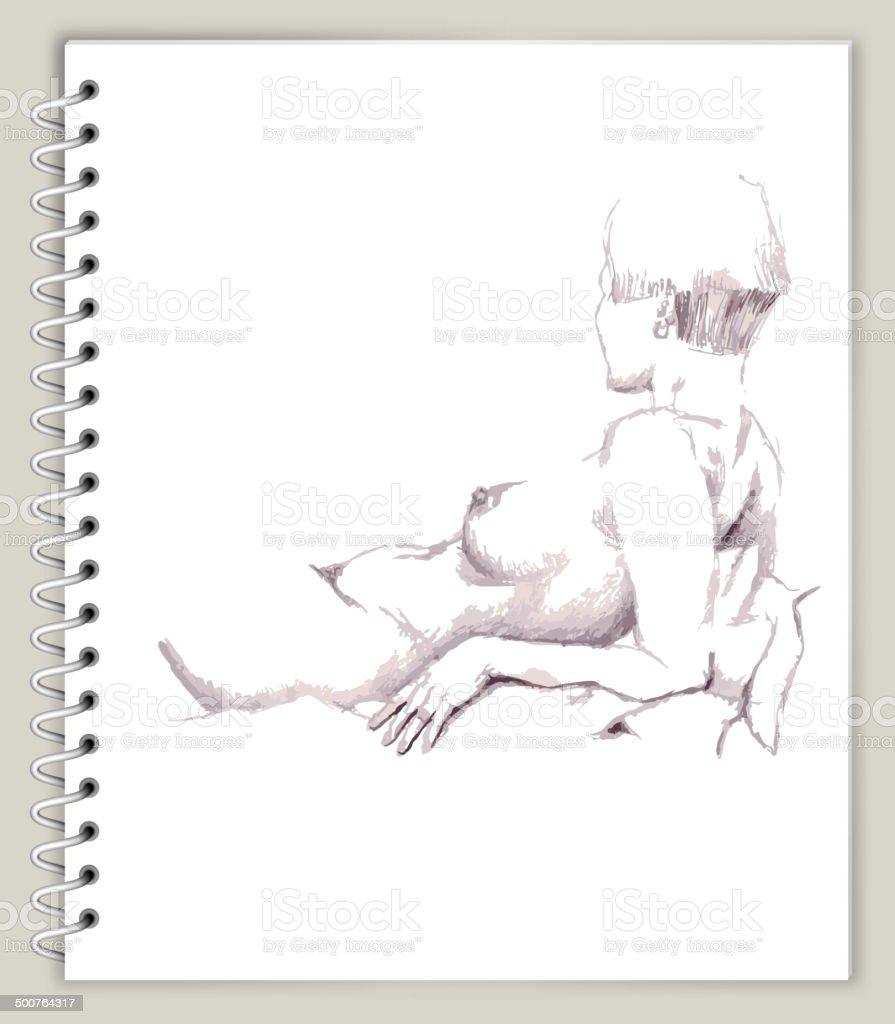 Colocación De Mujer Tomando Arte Sketcbook Arte Vectorial Libre De ...