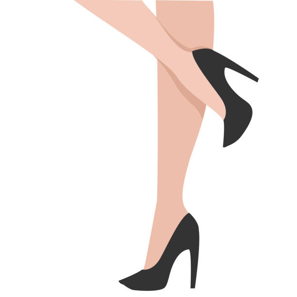 woman legs in black shoes. cartoon vector illustration - wysokie obcasy stock illustrations