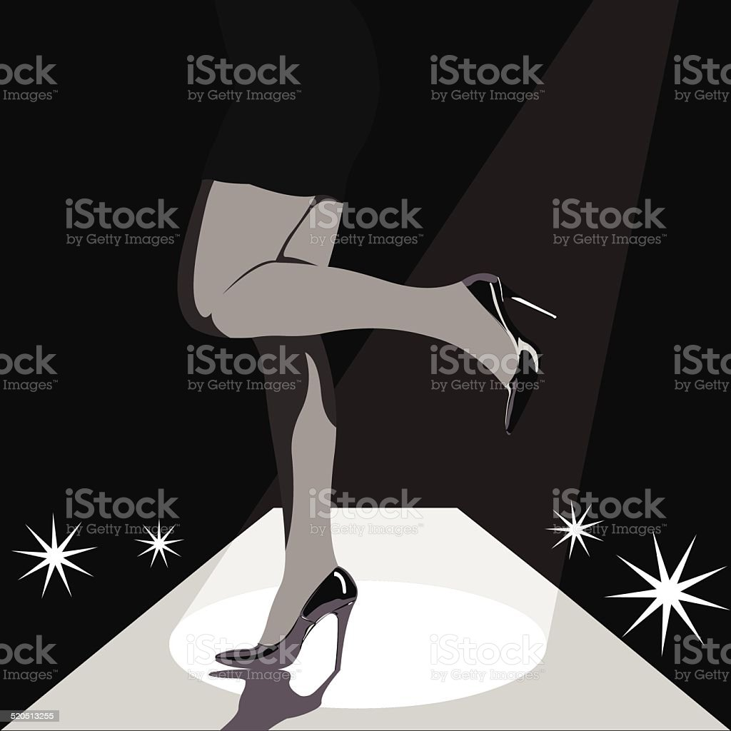 Woman legs in high heels on runway stage vector art illustration