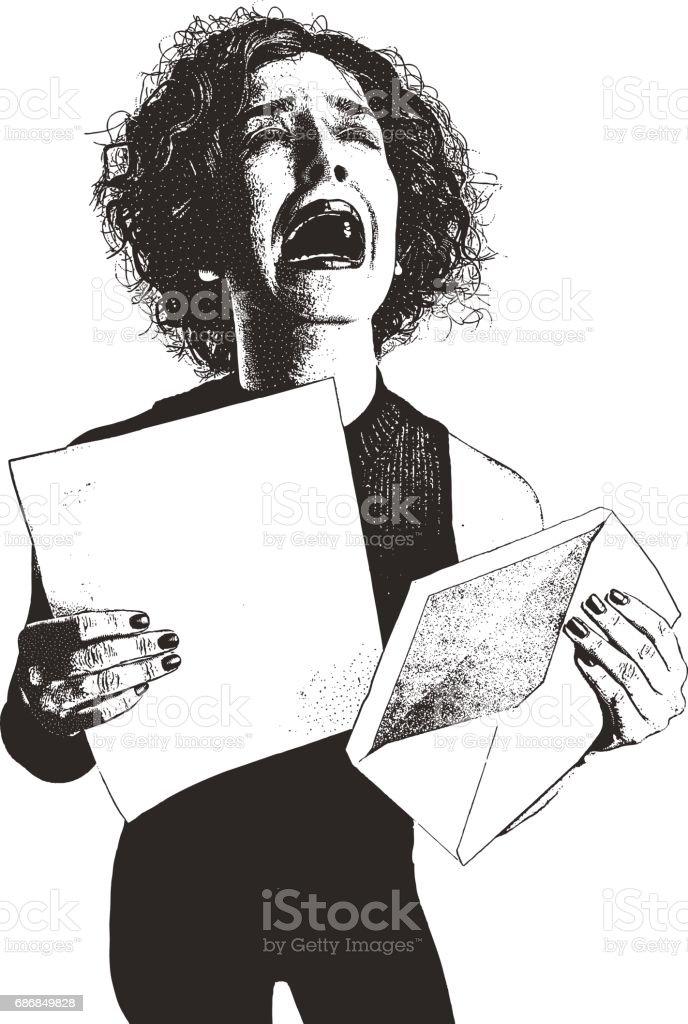 Woman, letter, envelope and bad news vector art illustration