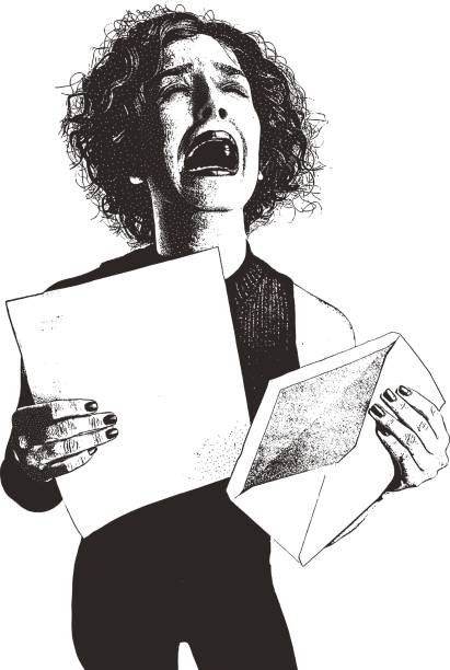 Mujer, carta, sobre y malas noticias - ilustración de arte vectorial