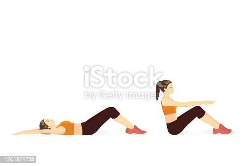 Woman lie down on her back and curl upper body to the top for touch her knees. Illustration about swing up exercise posture.