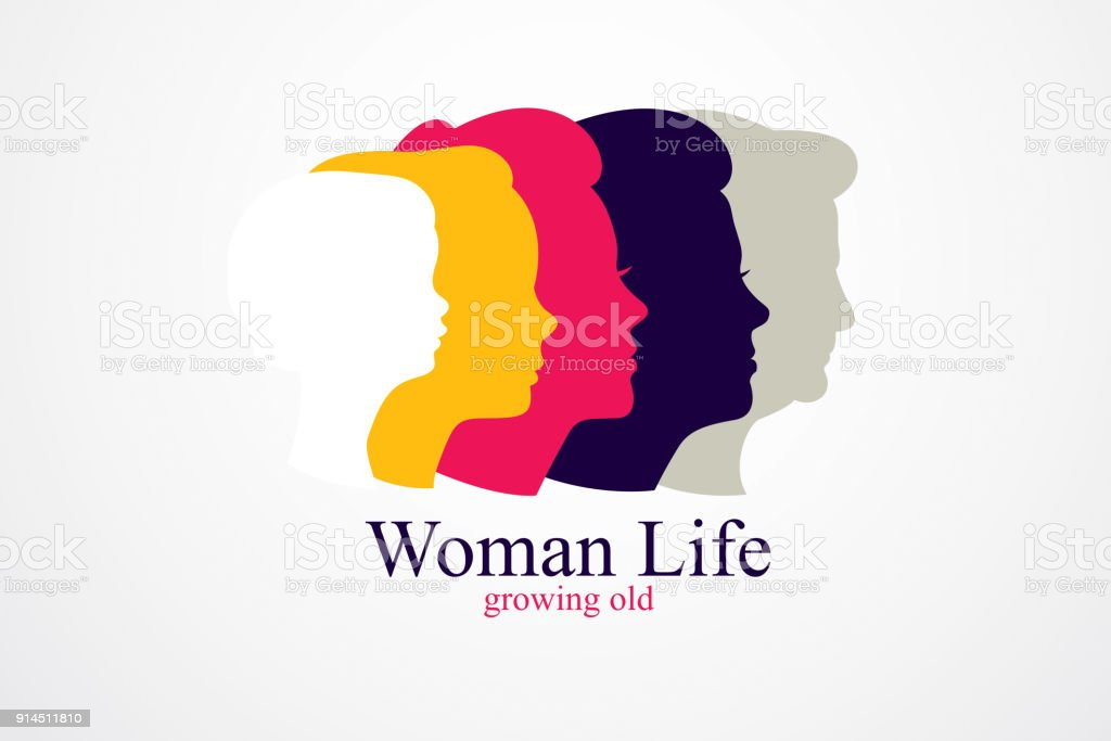 Woman life age years concept, the time of life, periods and cycle of life, growing old, maturation and aging, one generation and age categories. Vector simple classic icon vector art illustration