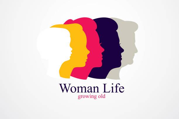 여자 인생 나이 년 개념, 생활, 기간과 생활, 오래 된 성장, 성숙, 노화, 한 세대와 나이 카테고리의 사이클의 시간. 벡터 간단한 고전적인 아이콘 - 가정 물건 실루엣 stock illustrations