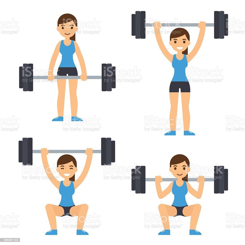 Woman lifting barbell vector art illustration
