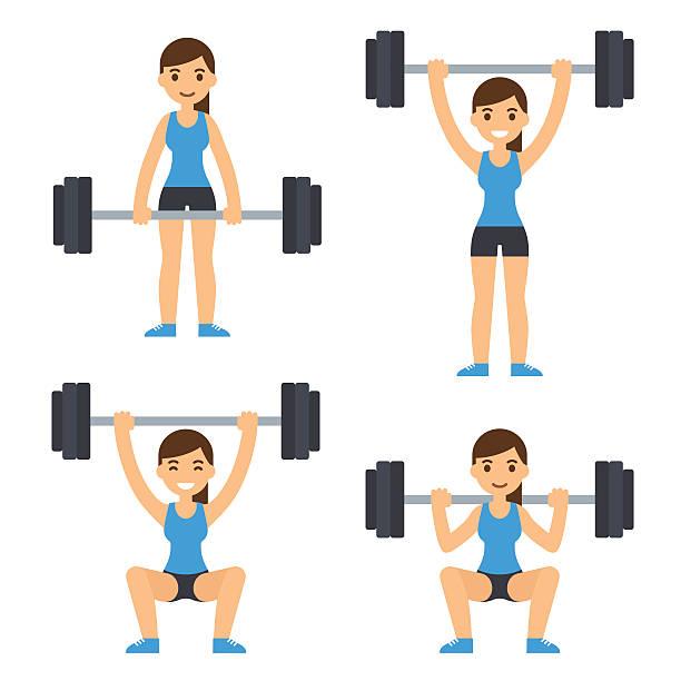 ilustraciones, imágenes clip art, dibujos animados e iconos de stock de mujer levantamiento de barra para pesas - entrenamiento con pesas