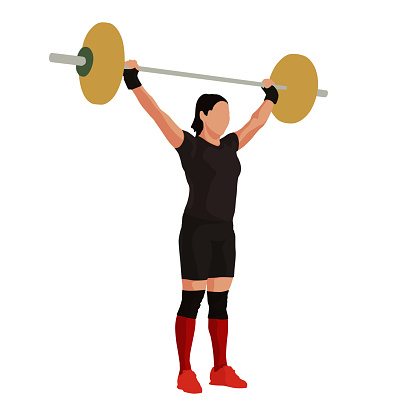 Woman lifts the barbell above her head, weight-lifting, vector illustration