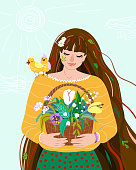 Woman like spring season. Beauty springtime flat female character hold in her hands basket with herb plants. Seasonal nature symbol chamomile, leaves, tulip, snowdrop, bird easter design illustration.