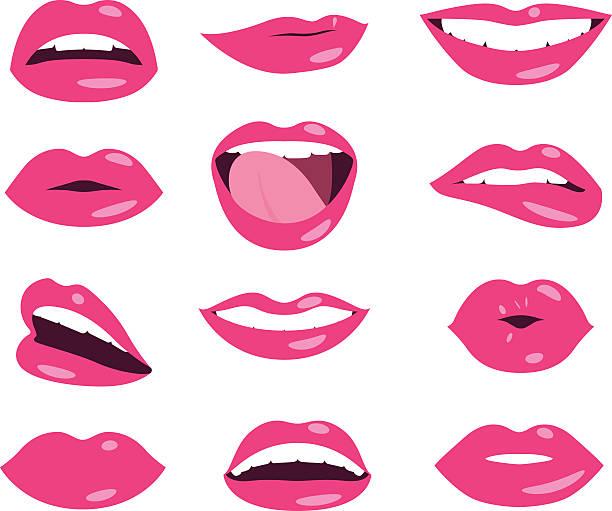 woman lips facial expression vector set - Illustration vectorielle