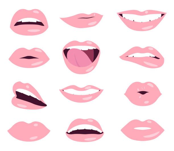 femme lèvres set vector d'expression du visage - Illustration vectorielle