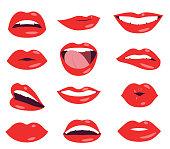 woman lips facial expression vector set