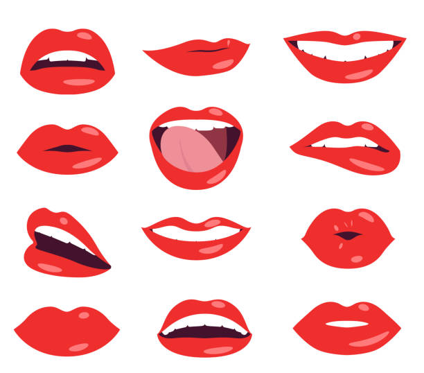 woman lips facial expression vector set - tylko dorośli stock illustrations