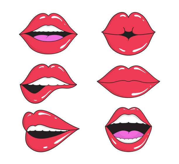 illustrazioni stock, clip art, cartoni animati e icone di tendenza di woman lips with smile, kiss. mouths collection of girl retro style for comic book. female open mouth with teeth. sticker lip shape for face. lady with red lipstick, makeup expressing emotion. vector - smile woman open mouth