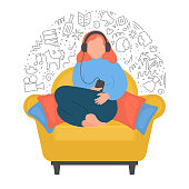 Woman listening podcasts, online training, music, or online radio. Women sitting in armchair on white background. Vector illustration.