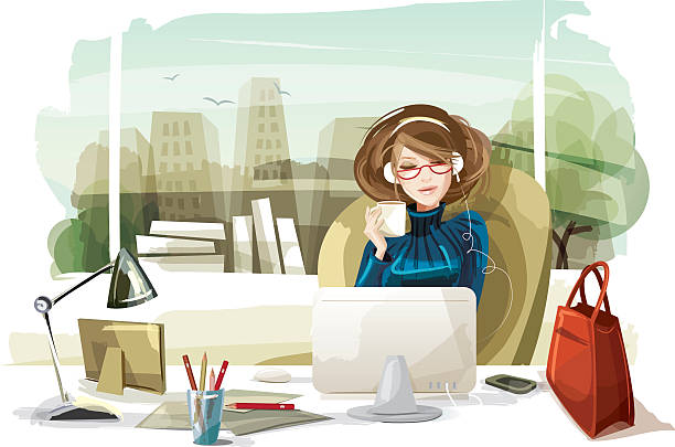 Woman Listening to Music in the Office Illustration of a woman in her office listening to music. Woman, room, desk and cityscape are layered and grouped separately. beautiful woman stock illustrations