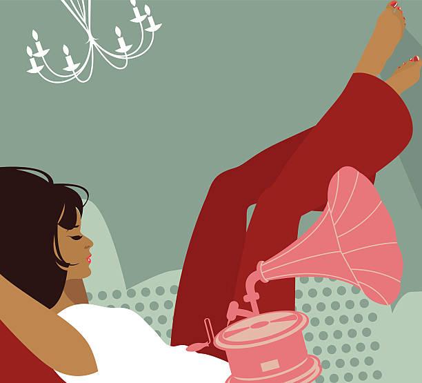 Kobieta słuchania muzyki. – artystyczna grafika wektorowa