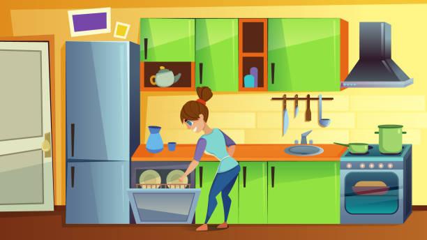 frau schadelt dirty dishes in dishwasher auf küche - waschküchendekorationen stock-grafiken, -clipart, -cartoons und -symbole
