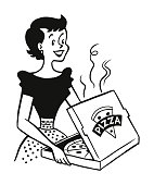 Woman Looking at a Pizza in a Box