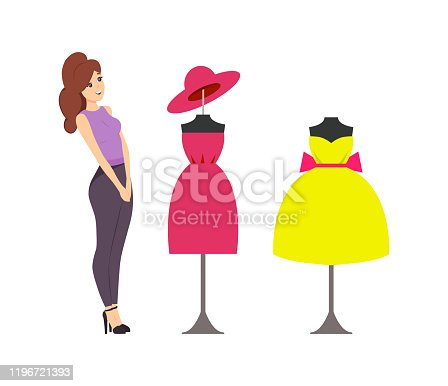 Woman looking at showcase with mannequins and clothes placed on vector. Buyer want to buy dress with bow, robe and hat. Ladies casual small headwear