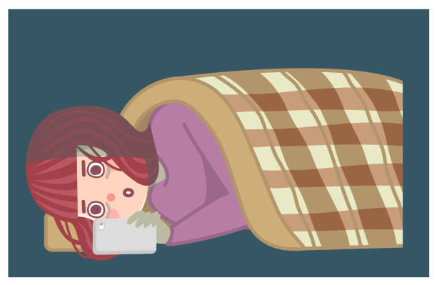 寝ている間にスマホを見ている女性 - スマホ ベッド点のイラスト素材/クリップアート素材/マンガ素材/アイコン素材