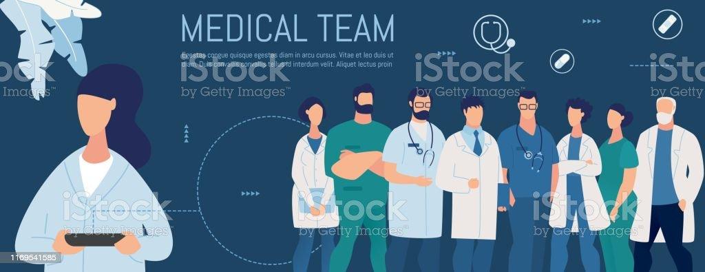 Kvinna söker personliga medicinska team på nätet - Royaltyfri Anställd vektorgrafik